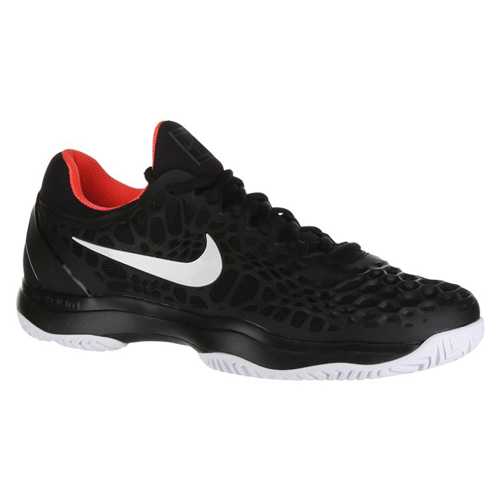 Nike Air Zoom Cage 3 HC (BlackWhiteBright Crimson) Men's Tennis Shoes